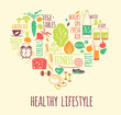 Healthy lifestyle Icons set in the shape of heart