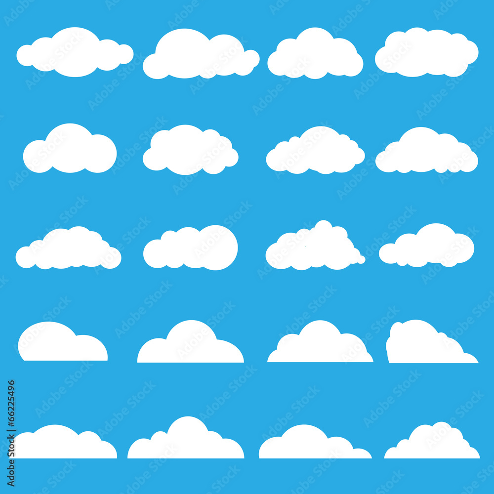 Fototapeta Vector of clouds collection