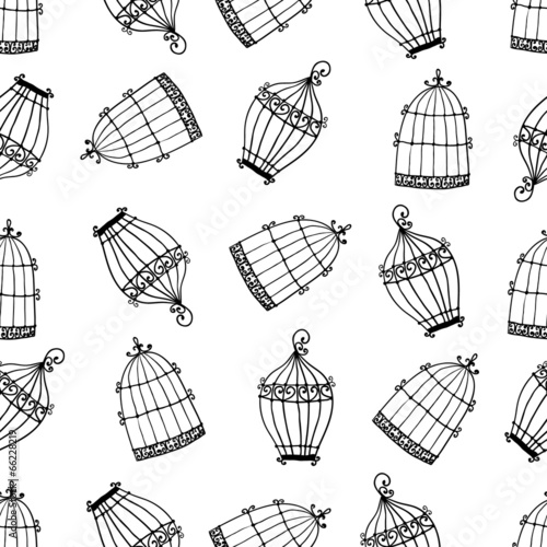 Fotografia  Seamless pattern with birdcages