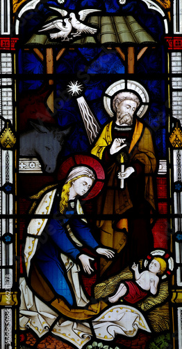 Foto op Canvas Piraten Nativity: birth of Jesus in stained glass