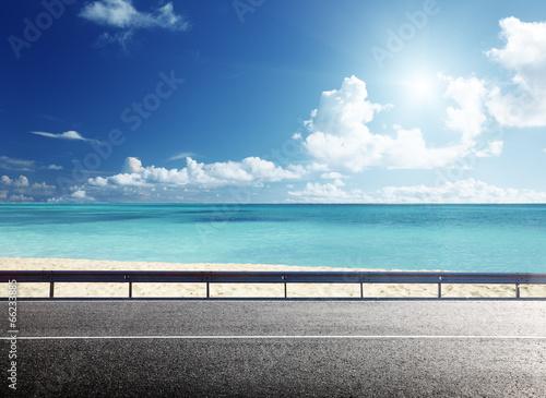 Fototapete - road on tropical beach