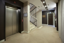 Interior Of A Corridor With Passenger Lift