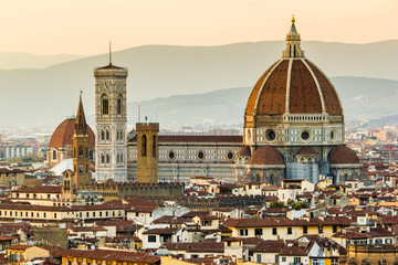 Obraz na Szkle Toskania Florence, Cathedral and Brunelleschi dome at sunset