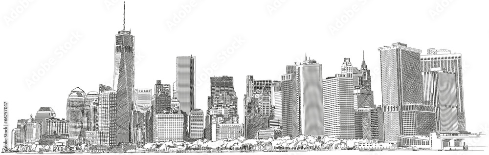 Fototapety, obrazy: New York Skyline skyscraper Wolkenkratzer Zeichnung