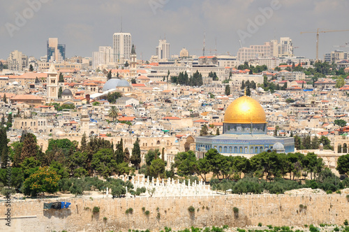 Foto op Plexiglas Donkergrijs Jerusalem landscape as seen from the mount of olives.