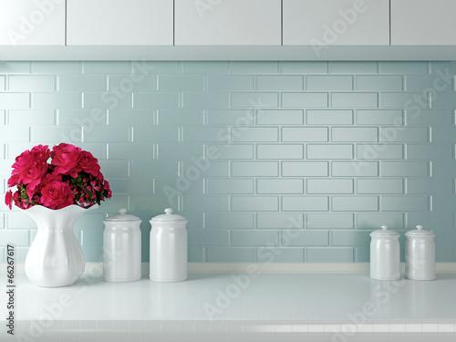 Photo  White kitchen design.