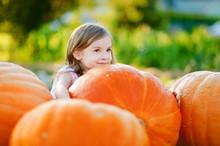 Adorable Little Girl Embracing Big Pumpkin