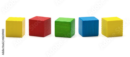 Canvas Print toy blocks, multicolor wooden game cube, blank boxes isolated