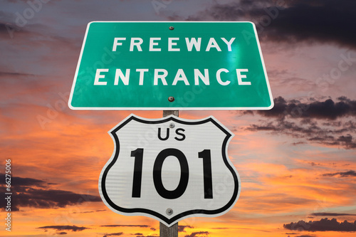 US 101 Freeway Sign Sunset Poster