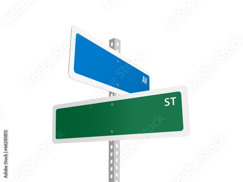 Fotografie, Tablou BLANK Street signs (American road avenue)