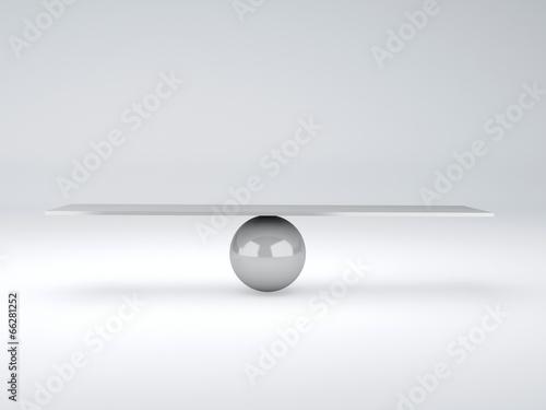 Fotografia white seesaw. Balance concept