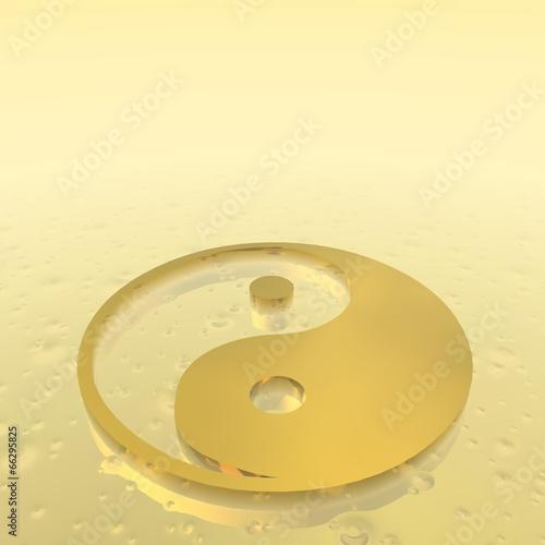 Fotografering  Golden yin yang symbol - 3D render
