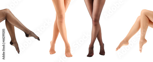 Fototapeta Collage of stockings on woman legs, isolated on white