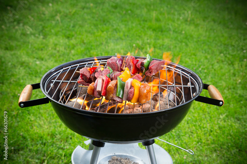 Tasty skewers on garden grill, close-up. Canvas Print