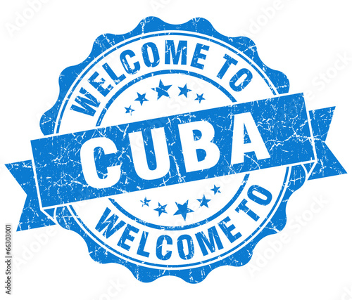 Welcome to Cuba blue grungy vintage isolated seal Canvas Print