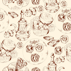 FototapetaOriental sweets seamless pattern