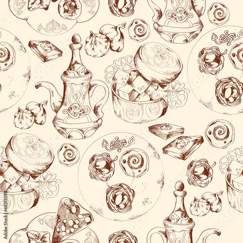 Oriental sweets seamless pattern - 66313098