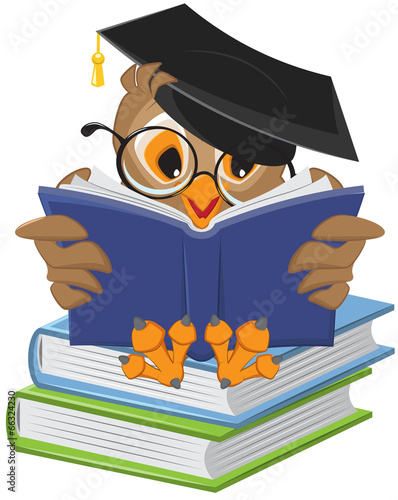 Fotobehang Uilen cartoon Wise owl reading book