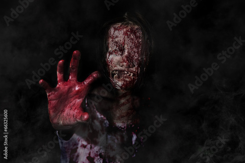 Suicidal girl in haunted school with cleaver Fototapet