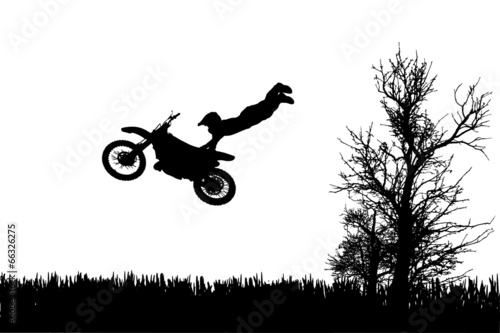 Vector silhouette of a man on a motorcycle.