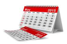 2015 Year Calendar. May. Isolated 3D Image
