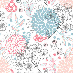 Panel Szklany Metamorfozy pastelowe Seamless floral pattern