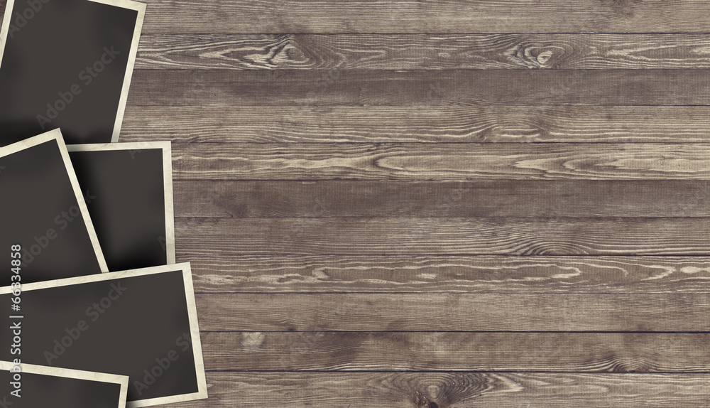 Fototapety, obrazy: Blank Photo frame on wooden background