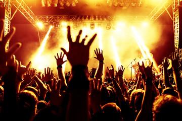 Fototapeta na wymiar Jubelnde Konzertbesucher auf Rock-Konzert
