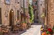 canvas print picture - Tipico ristorante italiano nel vicolo storico