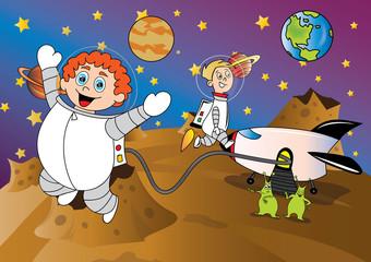 Fototapeta samoprzylepna kosmos ilustracja dla dzieci