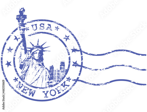 Fotografía  Shabby stamp with Statue of Liberty - sights of New York