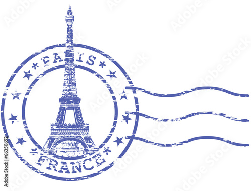 Shabby stamp with Eiffel tower - Sights of Paris