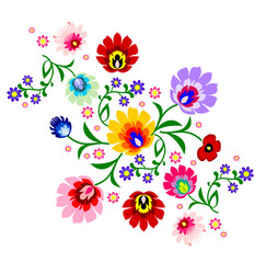 Traditional Polish floral folk pattern vector