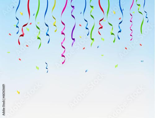 Fototapeta Holiday background with color ribbons. Vector obraz na płótnie