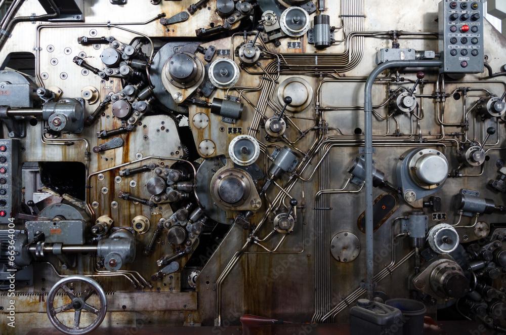 Fototapeta Detail of a rusted machine