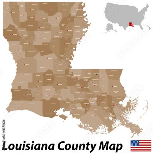 Louisiana County Map Canvas Print
