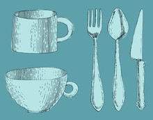 Cutlery, Fork, Knife And Spoon...