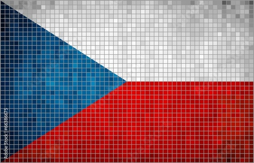 Flag of Czech - mosaic Fototapet