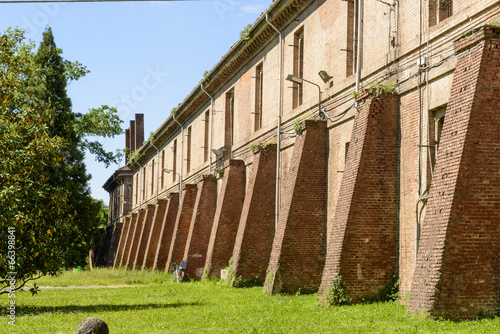 old military building inside Cittadella, Alessandria, Italy Canvas Print