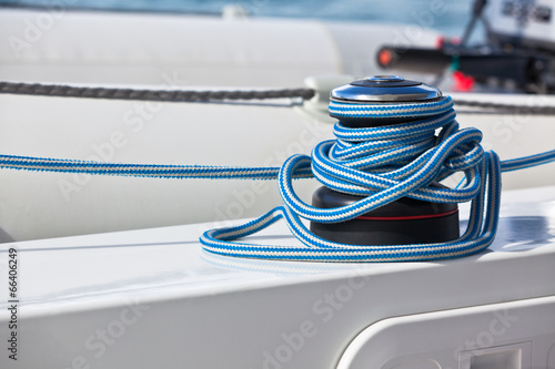 Winch and rope, yacht detail Canvas Print