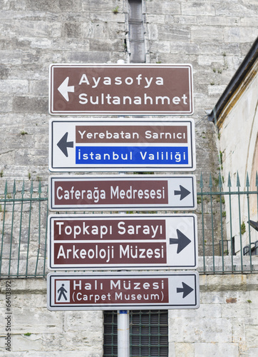 traffic signpost in istanbul Poster