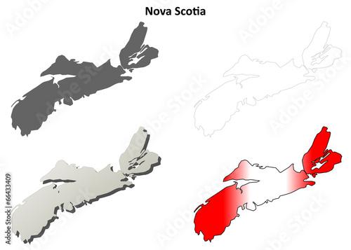 Fototapeta Nova Scotia blank outline map set