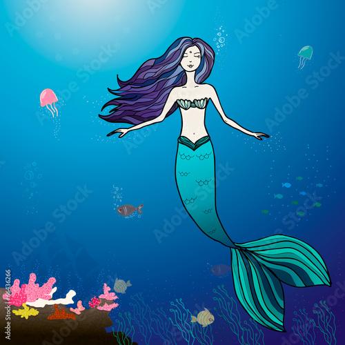 Fotobehang Zeemeermin Mermaid and sea illustration