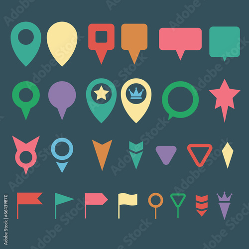 Flat map pins vector - Buy this stock vector and explore
