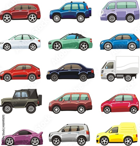 Foto op Aluminium Cartoon cars cartoon passenger car lorry and van for illustration