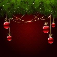 Christmas Balls On Red Wallpaper