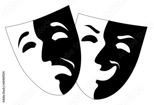 Fotografie, Tablou  theatre black and white emotion masks, vector