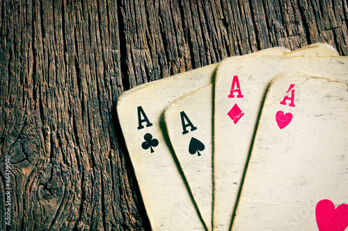old cards on wooden table плакат