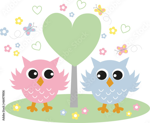 Canvas Prints Owls cartoon two sweet owls in love