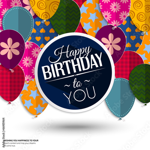 Photo  Vector birthday card with paper balloons and birthday text.